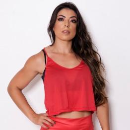 Camiseta Cropped Lisa Vermelho
