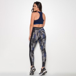 Calça Legging Lateral com Rede e Forro Preto