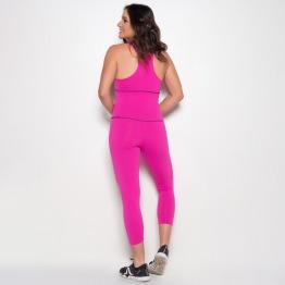 Macacão Legging Fitness em Suplex de Poliamida Rosa Pink