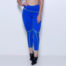 Calça Legging Fitness em Suplex de Poliamida Azul Bic