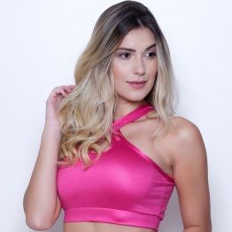 Top Cruzado Cirrê Rosa Pink