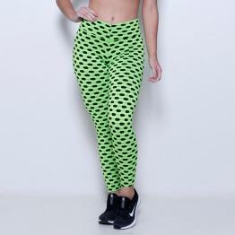 Calça Legging Tecido Bolha Multicolor Verde